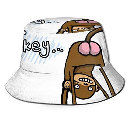 XCNGG Sombrero de pescador unisex para adultos Bum Monkey Butt Sombrero de cubo de dibujos animados lindo, gorra de sol plegable, máxima protección para los rayos Uva, perfecto para pesca, jardinería,