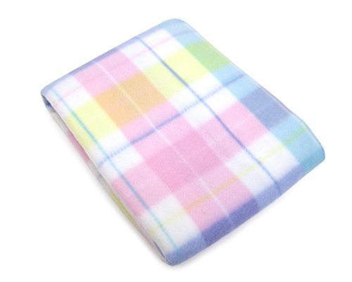 NoJo Pastel Plaid Fleece Baby Blanket, Aqua/Pink/Yellow/Green/Blue