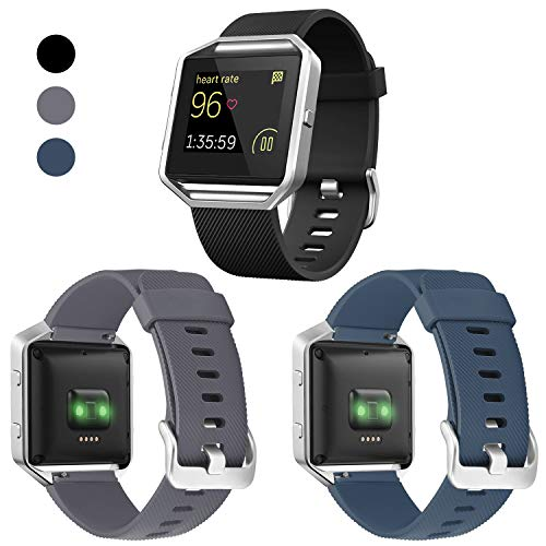 ESeekGo Compatible with Fitbit Blaze Bands, 3 Pack Silicone Band with 1 Pcs Silver Metal Frame Compatible with Fitbit Blaze Sport Fitness Accessory Replacement Wristband for Men Women