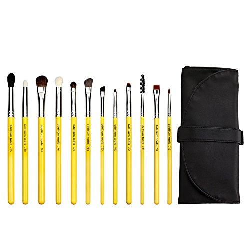 Bdellium Tools - Pennelli sfumatura occhi, professionali e antibatterici, con custodia arrotolabile, 12 pezzi