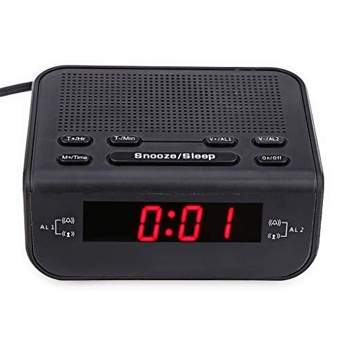 Vokmon Tiempo Moderna Digital LED Rojo Visualización del Reloj LED Digital FM Radio de Tiempo Doble del zumbador de Alarma Snooze sueño Radio Enchufe de la UE