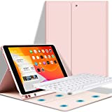 GOOJODOQ Keyboard Case for iPad 10.2 (7 Generation 2019)/(8 Generation 2020), Soft TPU Back Stand Cover With Pencil Holder+Magnetically Detachable Wireless Bluetooth V3.0 Keyboard