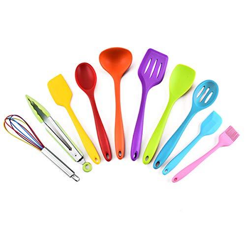 Juego de 10 utensilios de cocina de silicona, resistentes al calor, sin BPA, con espátula, espátula, espátula, espátula, cucharón, pinzas para cocina antiadherente