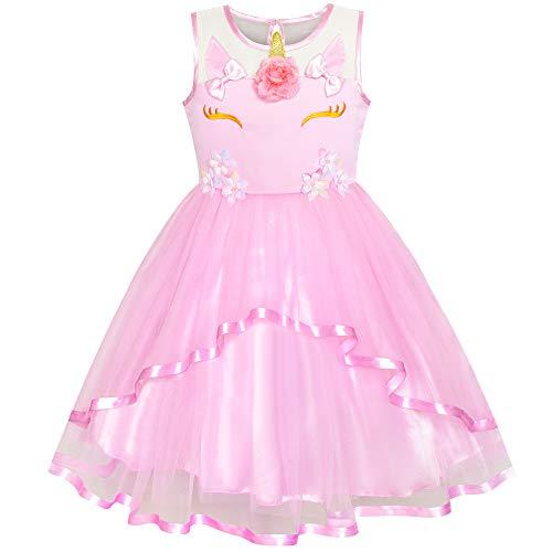 Sunny Fashion Vestido para niña Unicornio Fiesta Rosa Tul Princesa Fiesta 5 años