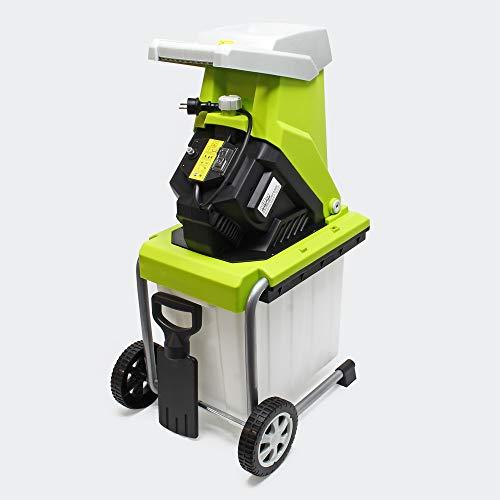 WilTec Biotriturador jardín eléctrico Trituradora Desmenuzadora jardín 2500W Ramas Hojas Cuidado jardín