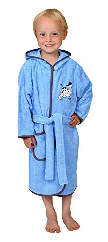 Betz Kinder Bademantel mit Kapuze Kinderbademantel Stickerei Dino Farbe hellblau Größe 98/104