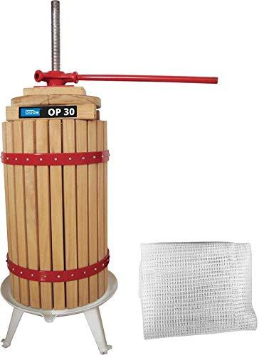 Güde XXL Obstpresse 30 Liter | amerikanische Eiche | incl. Presstuch und Querhölzer | stabile Spindel und Kurbel | Saftpresse Beerenpresse Weinpresse Maischepresse