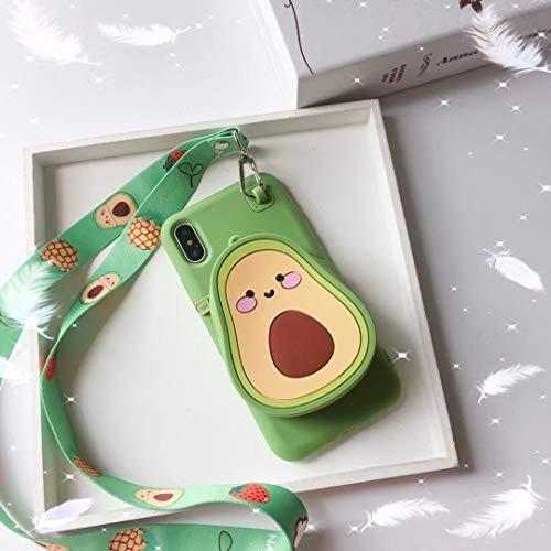SevenPanda 3D Früchte Tasche Kompatibel mit iPhone 8, iPhone 7 Niedlichen Cartoon Geldbörse Stand Inhaber, Weiche Siliko Schutzhülle mit Langen Schultergurt für Mädchen Frauen (Avocado)
