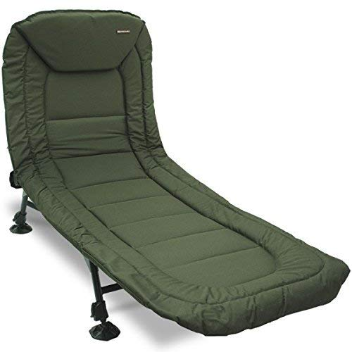 Detachable Pillow Built-in Tool Bag Tackle Storage Carp Fishing Adjustable Back Rest /& Legs Bedchair FoxHunter Portable Fishing Bed Chair XL Heavy Duty Camping Bed Khaki Green