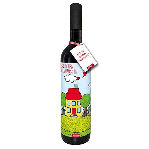 STEINBECK Wein Herzlichen Glückwunsch Hausbau Einzug Geschenk Eigenheim trockener Rotwein aus Spanien 100% Tempranillo Valdepenas Einladung Mitbringsel Hausbau Richtfest Hauseinweihung