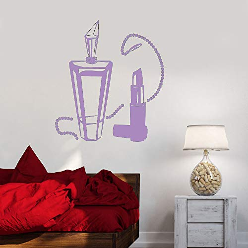 Vinilo Tatuajes de pared Mujer Dormitorio Joyas Salón de belleza Pegatinas de pared Sala de estar moderna Decoración del hogar Arte color-2 42x47cm