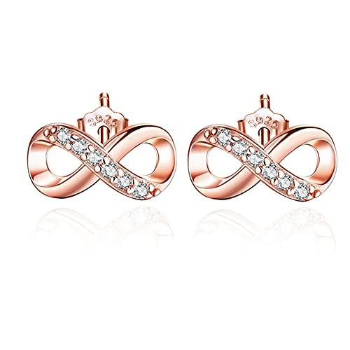 Pendientes de mujer 925 aretes de plata con símbolo de amor infinito pendientes de circonita cúbica de oro rosa adecuados para niñas