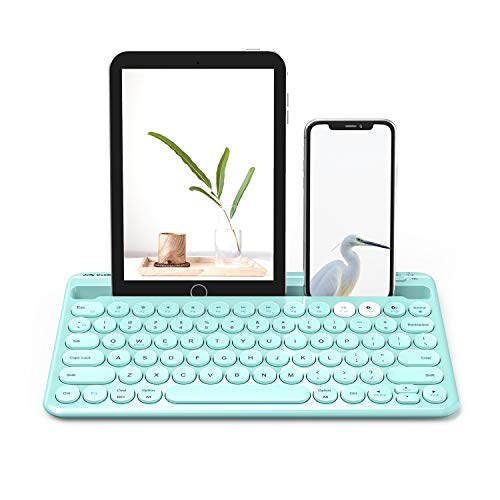 Bluetooth Keyboard, Jelly Comb Multi-Device Rechargeable Wireless Bluetooth Keyboard with Built-in Stand Slot Compatible with iPad Tablet, Cellphone iOS Android -B046 (Mint Green)