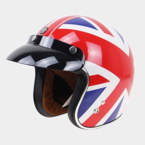 ZHXH Half Helmet 3/4 Cruiser Scooter Dot zertifizierte männliche und weibliche Antikollisions-Motorradhelme und Schutzbrillen
