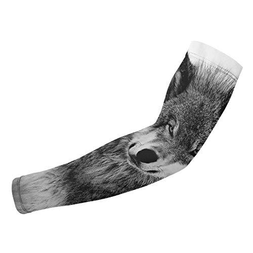 Kompressions-Armstulpen, Wolf-Tier-Design, für Damen und Herren, UV-Schutz, kühlend, Tattoo-Arm, Sonnenschutz-Ärmel für Laufen, Golf, Basketball und Outdoor-Aktivitäten