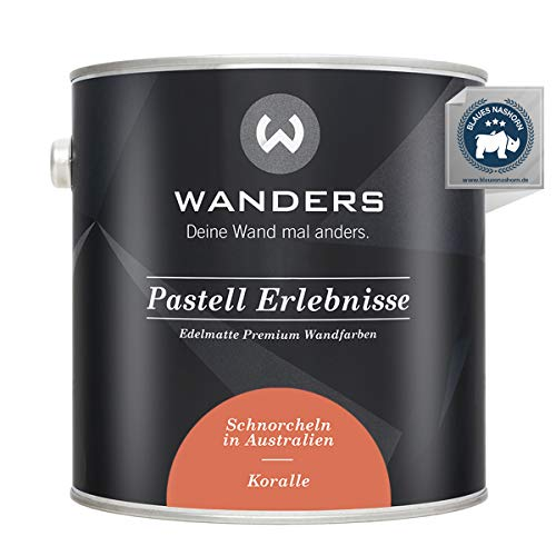 Wanders24® Pastell Erlebnisse (2,5 Liter, Koralle) edelmatte Wandfarbe - Feine Farben - in 40 Farbtönen - Wandfarbe Grau - Made in Germany