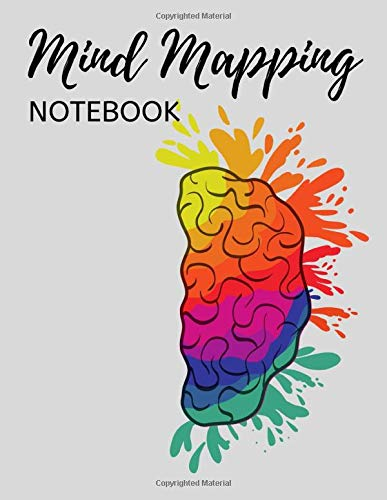 Mind Mapping Notebook: Mind Map Journal / Template To Organize Thoughts And Ideas, Colourful Brain Pattern
