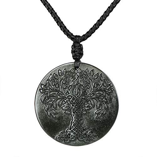 HASKARE Obsidian Stone Tree of Life Necklaces, 1.18
