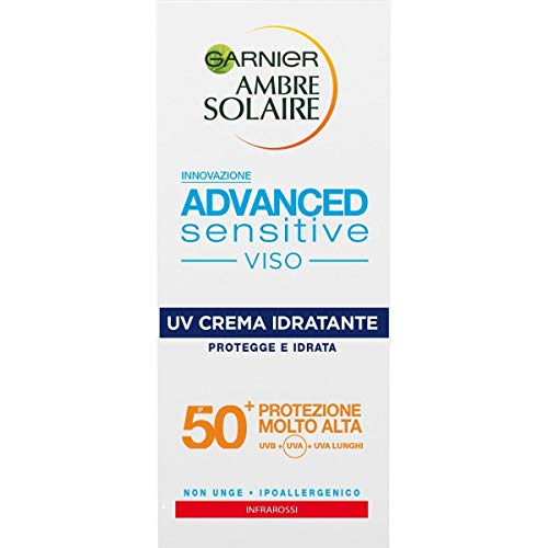 Garnier Ambre Solaire Crema Advanced Sensitive Viso, Advanced Sensitive Viso UV Crema Idratante IP50+, Protegge e Idrata, 50 ml, Confezione da 1