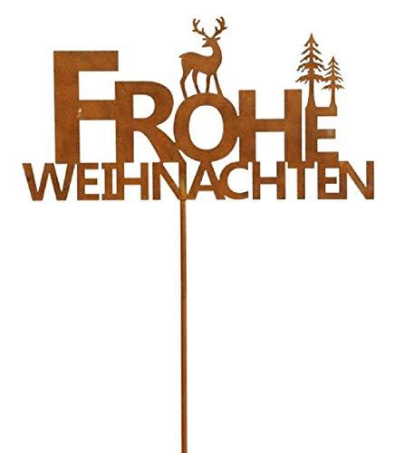Decpero Gartenstecker Schriftzug Frohe Weihnachten/rost/Metall / 35x18,5cm+98cm Stab