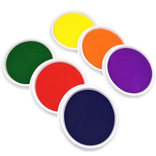 TOYANDONA 6 Piezas de Sellos de Almohadilla de Tinta Grande Color Arco Iris Almohadilla de Tinta Artesanal Lavable para Huellas Dactilares Huella de Nacimiento para Niños Niños (Color Aleatorio)