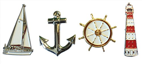 Anstecker-Set mit maritimen Motiven: Schiff, Anker, Leuchtturm und Steuerrad, aus Metall