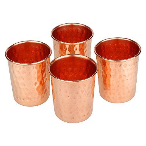 Zap Impex Set di 4 bicchieri in rame martellato e rame puro per bere