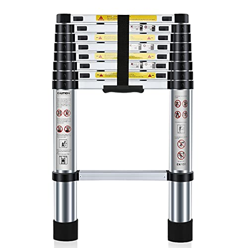 Nestling 8.5ft/2.6M Telescoping Ladder, Portable Aluminium Max Load...