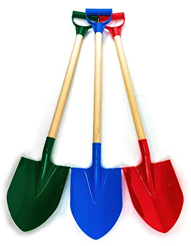 Product Image of the Matty's Toy Stop 31' Heavy Duty Wooden Kids Sand Shovels with Plastic Spade &...