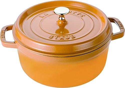 STAUB Cast Iron Casserole Dish Diameter 24 cm Capacity 3.8 litres Mustard Yellow