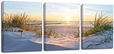 Sunset Ocean Seascape Wall Art Natural Scenery Picture Canvas Print Beach Grass Used to Decorate product image