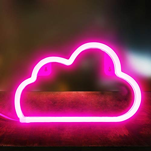 XIYUNTE Pink Cloud Light Neon Signs Led Neon Wall Light Battery or USB Operated Neon Light Sign Led Neon Lights Cloud Lamp Light up for The Home,Kids Room,Bar,Festive Party,Christmas,Wedding