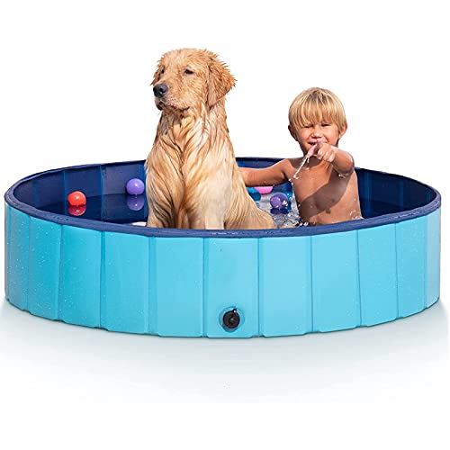 Opvouwbaar hondenzwembad antislip huisdier zwembad badkuip pvc pierenbadje, opvouwbaar hondenzwembad voor buiten en binnen,Blauw,XXL