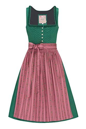Moser Trachten Baumwolle Midi Dirndl 70er dunkelgrün Altrosa Barbara 006865 von Moser, Rocklänge: ca. 79cm, mit Knopfleiste, Größe 38
