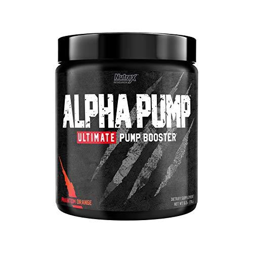 Nutrex Research Alpha Pump Stim-Free Pre-Workout Pump Booster | Ultimate Muscle Pumps, Non Stimulant Nitric Oxide Preworkout Formula | 20 Servings (Phantom Orange)