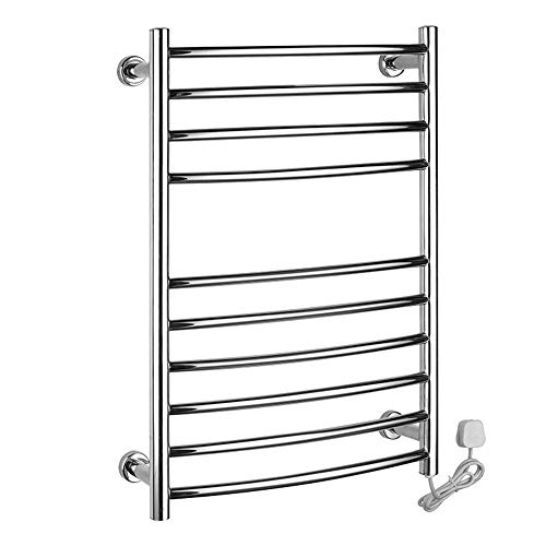 ZMCOV Electric Towel Rail Heater Stainless Steel Mirror Polish,10 Heated Bars Thermostatic Heated Drying Rack, Best for Any Bathroom & Kitchen,Plug
