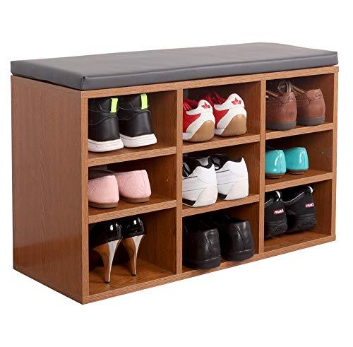 RICOO WM035-ER-A Banco Zapatero 79x49x30 Armario Interior con Asiento Organizador Zapatos Mueble recibidor Perchero Entrada Madera Roble marrón