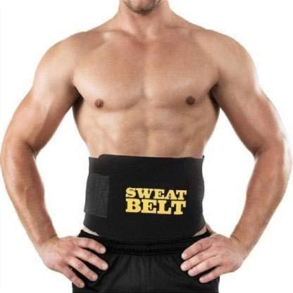 Royal Sine Sweat Waist Trimmer Yoga Wrap Weight Loss Fat Burner Slimming Belt for Men and Women (Black) (Free Size)