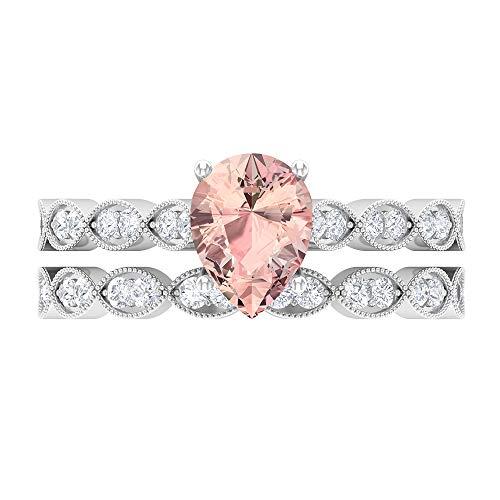 1.50 CT creado en laboratorio de morganita y moissanita conjunto de anillos de boda (calidad AAAA), 14K Oro blanco, laboratorio de morganita creado-1, Size:EU 68