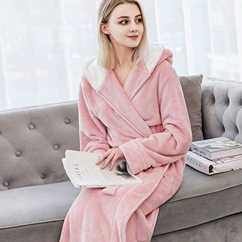 YSFFHDH Dressing Gownladies Flanell Bademantel Rosa extra dicken Bademantel Winter...
