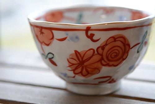 手作り工房 夕立窯 Hana Maru お茶碗 (赤花)