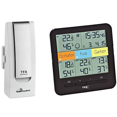 TFA Dostmann 31.4007.02 Weatherhub Starter-Set mit Klima@Home Funk-Thermo-Hygrometer, Mobile Klima- und Heimüberwachung (Weiss mit Batterien)