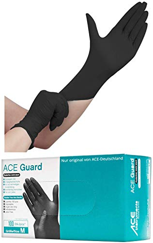 ACE Guard Guanti Monouso - 50 Paia Guanti Nitrile Usa e Getta - Senza Lattice e Polvere - Neri - s
