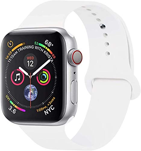 VIKATech Compatible Cinturino per Apple Watch Cinturino 44mm 42mm 40mm 38mm, Cinturino Morbido di Ricambio in Silicone per iWatch Series 5/4/3/2/1 (38mm/40mm S/M, Bianca)
