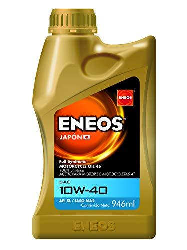 ENEOS Moto Full Synthetic Aceite para Motor de Motocicletas 4T 10W-40 SL/MA2 0.946 L