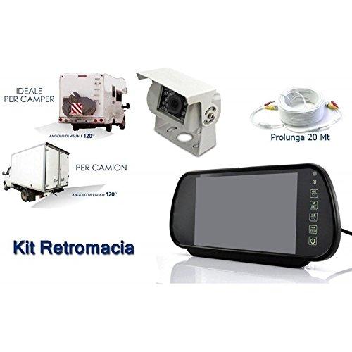 Terryshop74 Kit retromarcia auto camion monitor specchio retrovisore 7'' telecamera 18 led +cavo 20 metri