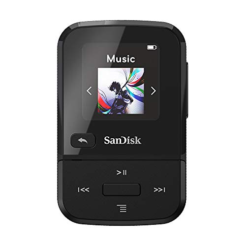 SanDisk 16GB Clip Sport Go MP3 Player, Black - LED Screen and FM Radio - SDMX30-016G-G46K