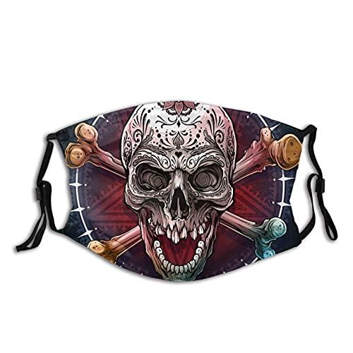 asdew987 Gráfico realista colorido cráneo humano con tatuaje mexicano adorno floral y huesos cruzados paño lavable ajustable algodón máscara facial unisex adulto para mujeres y hombres
