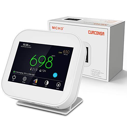 CO2 Messgerät,CURCONSA CO2-messgerät mit Umgebungstemperatur, Luftfeuchtigkeit und Uhr,Wiederaufladbare Lithiumbatterie mit 1800 mAh,3,5-Zoll-TFT-Farbbildschirm mit kapazitivem Touch.