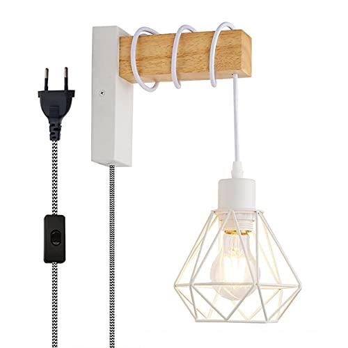 BarcelonaLED Aplique Pared Vintage Industrial Madera y Jaula Diamante con Cable Interruptor y Enchufe Portalámparas de E27 LED Blanco para Dormitorio Salón